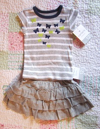 Carter's Baby Toddler Girl 2PC Grey Skirt & Top Set 12MTH