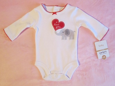 "Carter's Infant Baby Girl ""I Love You"" Onesie w/Elephant NB"