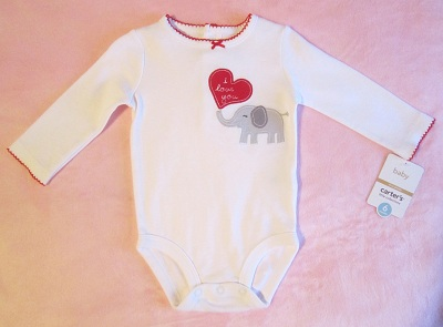 "Carter's Infant Baby Girl ""I Love You"" Onesie w/Elephant 6MTH"
