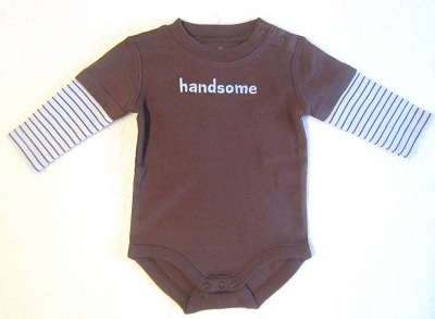 "Gymboree Infant Baby Boy Brown ""handsome"" Onesie 3-6"