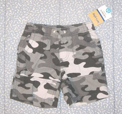 Carter's Baby Toddler Boy Black/Grey Camo Shorts 24MTH