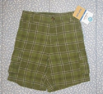 Carter's Baby Toddler Boy Olive Green Plaid Shorts 24MTH