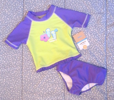 Carter's Baby Toddler Girl Purple & Green 2PC Bathing Suit 12MTH
