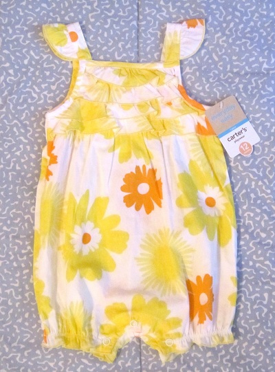 Carter's Infant Baby Girl Bright Yellow Floral Romper 12MTH