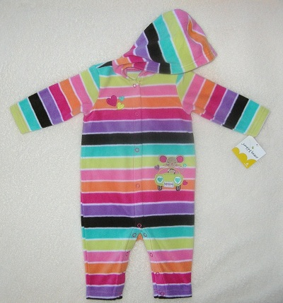 Jumping Beans Infant Baby Girl Striped Hooded Fleece 6MTH