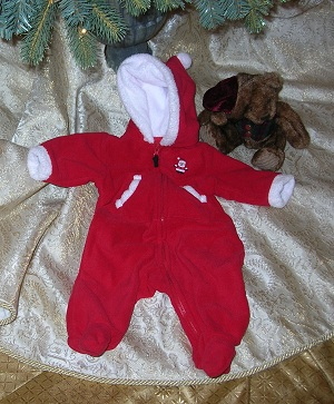 Christmas Carter's Infant Baby Boy Girl Red Bunting 3MTH