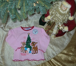 Christmas Toddler Girl Pink Rudolph Shirt 3T