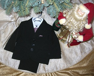 Sweet Kids Toddler Boy 5PC Black & Burgundy Suit 2