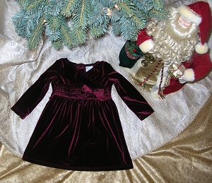 Christmas Circo Baby Toddler Girl Burgundy Dress 18MTH