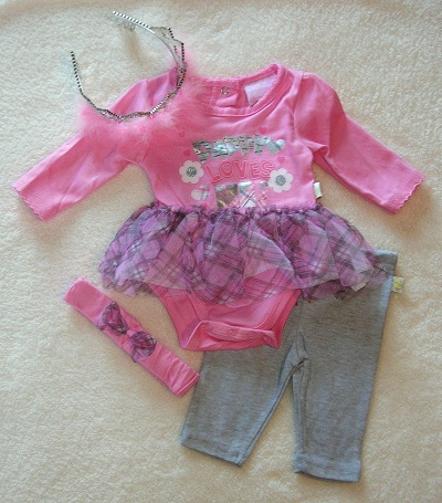 Duck Duck Goose Infant Baby Girl Pink & Grey Tutu Outfit 0-3MTH