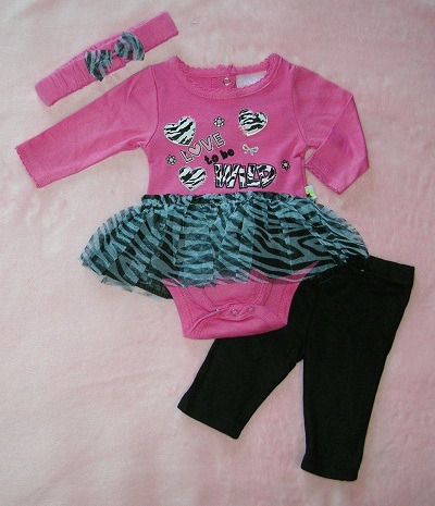 Duck Duck Goose Infant Baby Girl Pink & Zebra Tutu Outfit 3-6MTH
