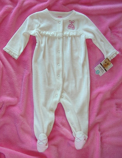 Carter's Infant Baby Girl White Outfit w/Pink Ballet Slippers 6MTH