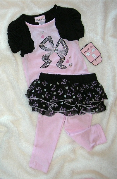 Little Lass Baby Toddler Girl Pink & Black Tutu Outfit 12MTH
