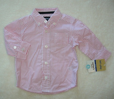 Carter's Infant Baby Boy Red & White Striped Oxford Style Shirt 6MTH