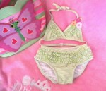 Gymboree Infant Baby Girl Green/White Striped Bikini 6-12MTH