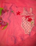Al & Ray Infant Baby Girl Pink/White Bathing Suit Set 12MTH