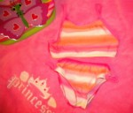 Koala Kids Toddler Girl Pink/Orange Fading Stripe Bikini 36MTH