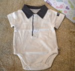 The Children's Place Infant Baby Boy Cream Onesie w/Collar 0-3MTH