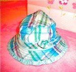 The Children's Place Infant Baby Girl Teal Plaid Sunhat 0-3MTH