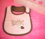 "Carter's Infant Baby Girl ""Daddy's Girl"" Pink/Brown Bib"