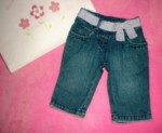 Gymboree Infant Baby Girl Jeans w/Purple Belt 0-3MTH
