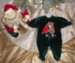 Christmas Little Me Infant Baby Green Outfit with Bear 6MTH