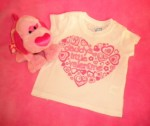"The Children's Place Infant Baby Girl ""daddy's little valentine"" White Shirt 6-9MTH"