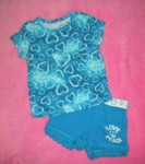 The Children's Place Baby Toddler Girl Blue Hearts 2PC 24MTH