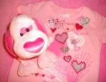 The Children's Place Baby Toddler Girl Pink Valentine Shirt w/Hearts 24MTH