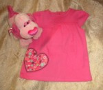 Jumping Beans Infant Baby Girl Pink Shirt with Heart 6-9MTH