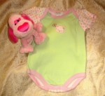 Bon Bebe Infant Baby Girl Light Green Outfit with Hearts & Kitty 6-9MTH