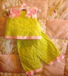 Rare Editions Infant Baby Girl Green 2PC Capri Set 6-9MTH
