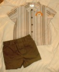 First Moments Infant Baby Boy Striped Shirt & Shorts 3-6MTH