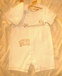 Little Me Organics Infant Baby Boy Ivory Outfit w/Hat 9MTH