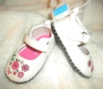 The Children's Place Infant Baby Girl White Shoes w/Pink Flowers 6-12MTH