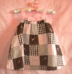 Gymboree Infant Baby Girl Pink & Brown Patchwork Dress 6-12MTH