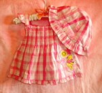 Disney Baby Infant Baby Girl Pink & White Checked Shirt & Hat 0-3MTH