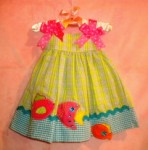 Rare, Too! Infant Baby Girl Green, Blue & Pink Sundress w/Fish 6MTH