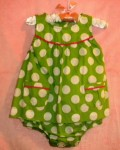 Carter's Infant Baby Girl Green Romper w/White Polka Dots 12MTH