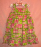 Savannah Baby Toddler Girl Pink & Green Patchwork Dress 24MTH