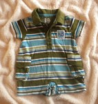 The Children's Place Infant Baby Boy Green Striped Outfit w/Collar 0-3MTH