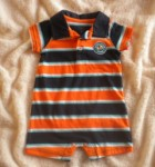 Carter's Infant Baby Boy Blue & Orange Striped 1PC 3MTH
