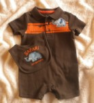 Jumping Beans Infant Baby Boy 2PC Brown Outfit & Bib Set 3-6MTH