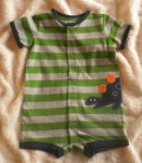 Carter's Infant Baby Boy Green & Grey Striped Creeper 6MTH