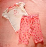 Gymboree Infant Baby Girl 2PC White/Pink Giraffe Set 0-3MTH