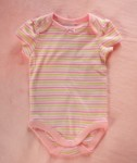 Gymboree Infant Baby Girl Pink/White/Green Striped Onesie 0-3MTH