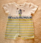 Baby Connection Infant Baby Girl White/Blue/Green Romper 0-3MTH