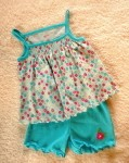 Carter's Infant Baby Girl 2PC Blue/Floral Short Set 0-3MTH