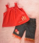 Gymboree Infant Baby Girl Jeans w/Orange Top 3-6MTH