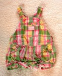 OshKosh Infant Baby Girl Pink/Green Plaid Shortalls 6MTH